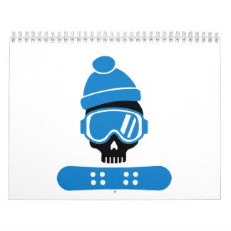 Snowboard skull wall calendars