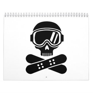 Snowboard skull goggles wall calendars