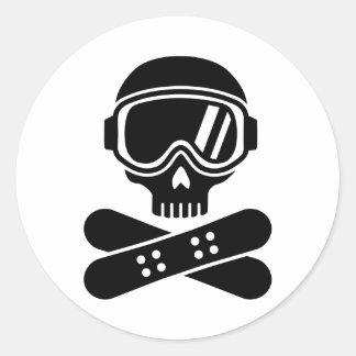 Snowboard skull goggles classic round sticker