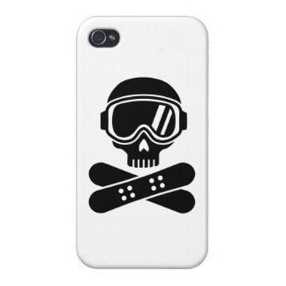 Snowboard skull goggles iPhone 4 covers