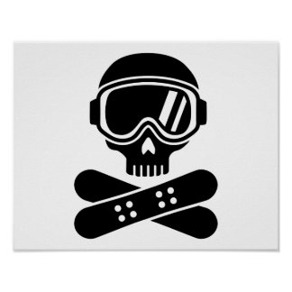Snowboard skull goggles posters