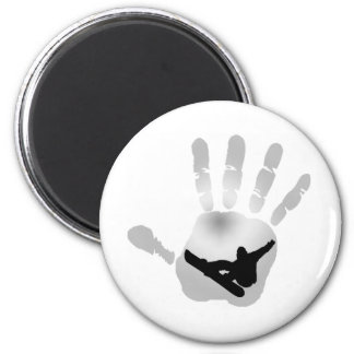snowboard snow flakes magnet