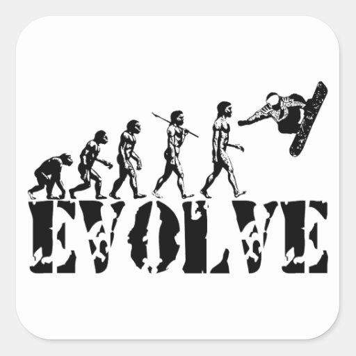 Snowboard Snowbording Sport Evolution Art Square Stickers