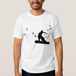 snowboard. tablero con los pájaros. negro poleras