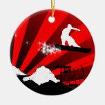 snowboard trail christmas tree ornament