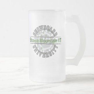 Snowboard University - Stowe Mountain VT Frosted Glass Beer Mug