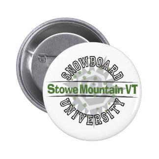 Snowboard University - Stowe Mountain VT Pinback Button