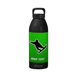 Snowboard verde botellas de beber