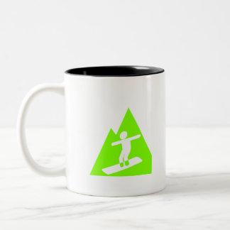 Snowboard verde chartreuse, de neón tazas de café