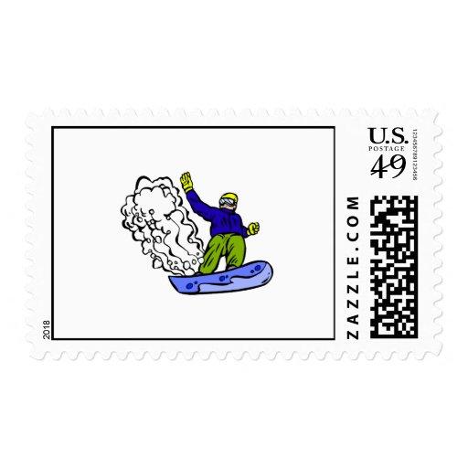 Snowboard wake postage stamp