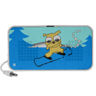Snowboard Yellow Dog Doodle Notebook Speakers