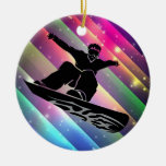 snowboarder adorno redondo de cerámica