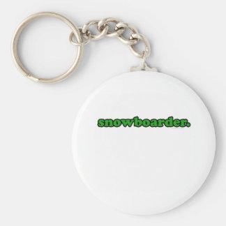 snowboarder basic round button keychain