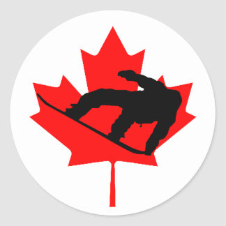 Snowboarder canadiense pegatina redonda