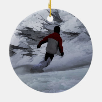 """Snowboarder """"Carving the Mountain"""" Winter Sports Ceramic Ornament"""