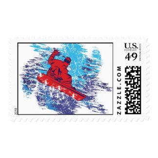 Snowboarder Catching A Big Snow Dift Stamp