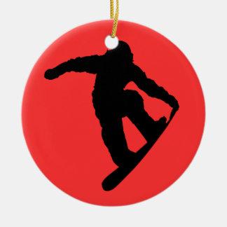 Snowboarder Ceramic Ornament