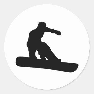 Snowboarder Classic Round Sticker