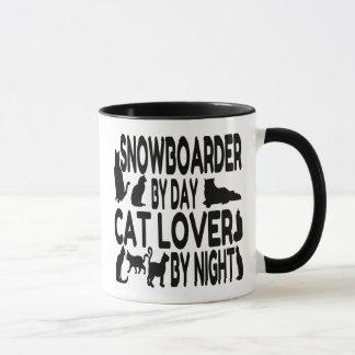 Snowboarder del amante del gato taza