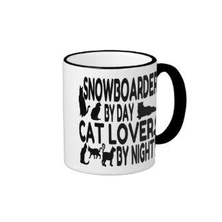Snowboarder del amante del gato taza de dos colores