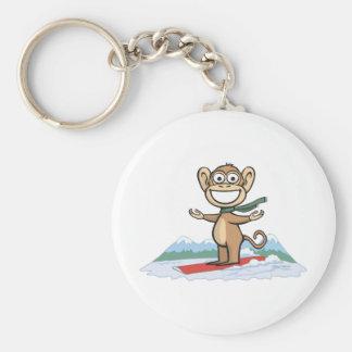 Snowboarder del mono llavero
