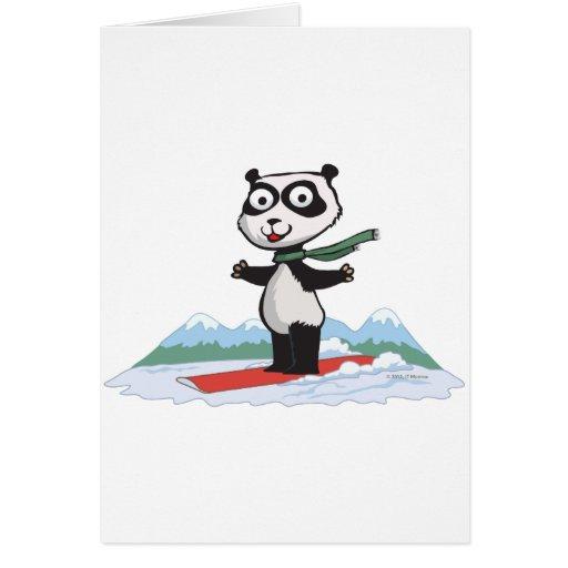 Snowboarder del oso de panda felicitación