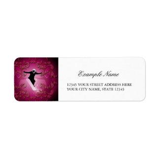 Snowboarder en fondo púrpura etiqueta de remite