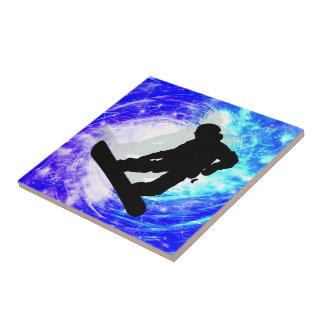 Snowboarder en la desorientación azulejo cuadrado pequeño