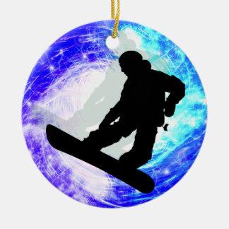 Snowboarder en la desorientación ornaments para arbol de navidad
