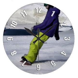 Snowboarder Finishing Stop Large Clock