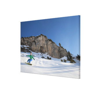 Snowboarder free riding canvas print