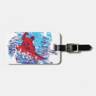 Snowboarder fresco etiqueta de equipaje