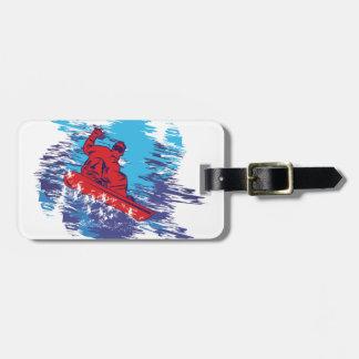 Snowboarder fresco etiquetas bolsa