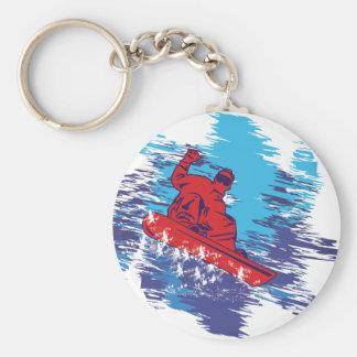 Snowboarder fresco llavero redondo tipo pin