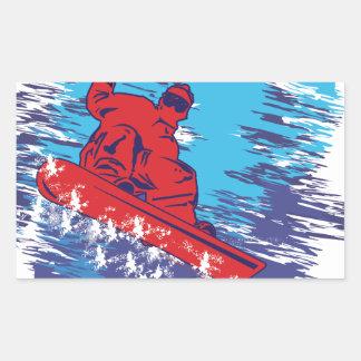 Snowboarder fresco pegatina rectangular