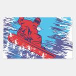 Snowboarder fresco rectangular pegatina