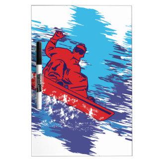 Snowboarder fresco tableros blancos
