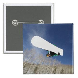 Snowboarder Getting Vert 2 Inch Square Button