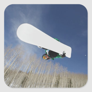 Snowboarder Getting Vert Square Sticker