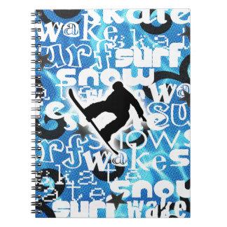 Snowboarder - Gone Boarding Gear Spiral Notebook