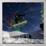 Snowboarder gone floral poster