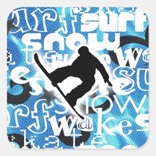 Snowboarder - ido a subir al engranaje pegatina cuadrada
