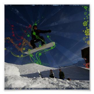 Snowboarder ido floral posters