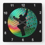 Snowboarder in Cosmic Snowstorm Wall Clocks