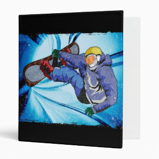 Snowboarder in Edgy Snowstorm 3 Ring Binder