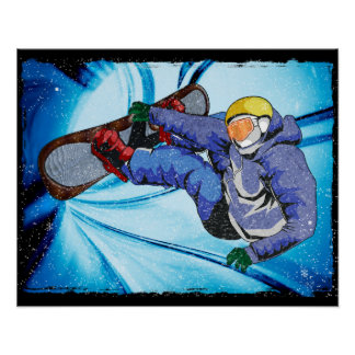 Snowboarder in Edgy Snowstorm Poster