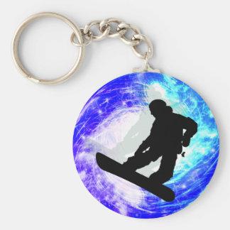 Snowboarder in Whiteout Basic Round Button Keychain