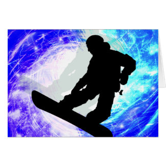 Snowboarder in Whiteout Card
