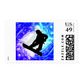 Snowboarder in Whiteout Invite Postage Stamps