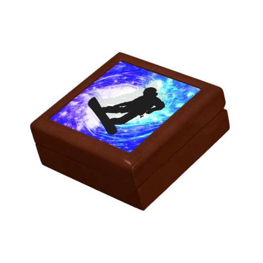 Snowboarder in Whiteout Keepsake Box